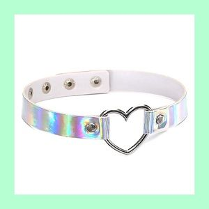 Holographic heart necklace
